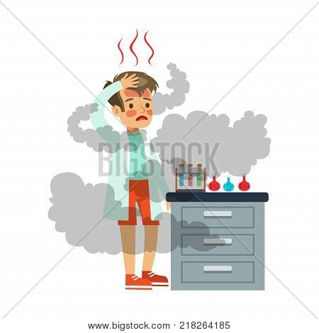 Disappointed boy with burbed face after a failed chemical experiment, scientist experimenting in science chemistry laboratory vector Illustration on a white background