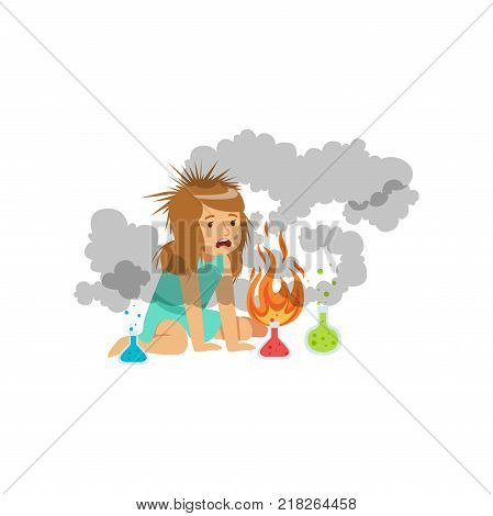 Girl after a failed chemical experiment, schoolgirl doing chemical experiment vector Illustration on a white background