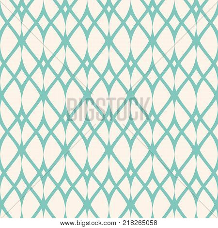 Vintage seamless pattern, thin wavy lines, elegant mesh. Texture of lace, weaving, net, smooth lattice. Subtle geometric background. Aqua green and beige colors. Design for decor, prints. Stock vector.