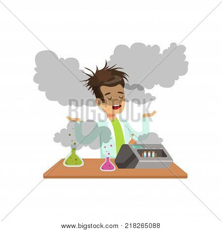 Boy scientist after a failed experiment, mixture explosion, schoolgirl at chemistry lesson vector Illustration on a white background