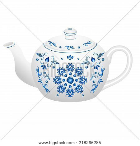 Porcelain teapot for tea set ornate in traditional Russian style Gzhel with oriental vintage pattern. Isolated object vector illustration. White teapot with blue floral ornament.