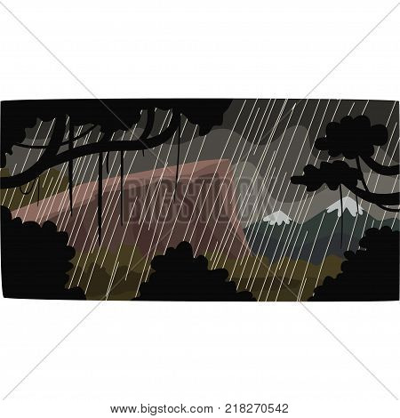 Heavy rain in tropical jungle, greenwood background with leaves, bushes and trees, tropical rainforest scenery vector illustration, forest backdrop