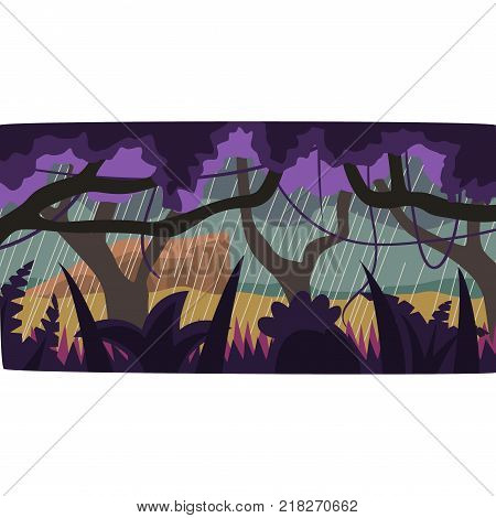 Heavy rain in tropical jungle, tropical rainforest scenery vector illustration, forest backdrop