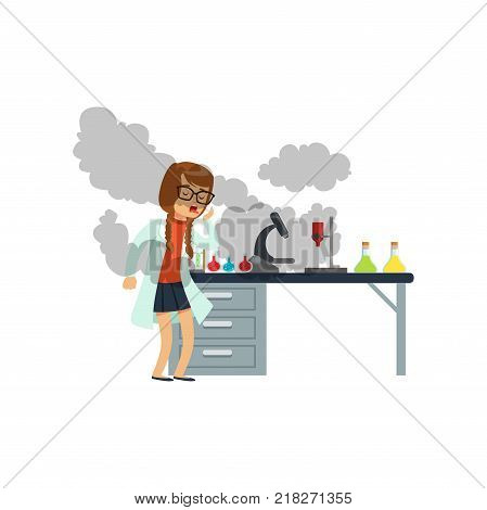 oughing girl after a failed chemical experiment, schoolgirl scientist experimenting in science chemistry laboratory vector Illustration on a white background