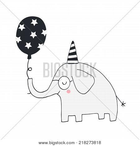 Unique Hand Drawn Nursery Birthday Poster With Elephant In Scandinavian Style. Vector Illustration