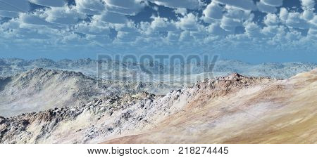 Computer generated 3D illustration with a barren stone desert
