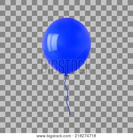 Blue flying helium balloon. For decoration party, birthday, new year and celebrations. Realistic style isolated on transparent background. 3d. Stock - Vector illustration for your design and business