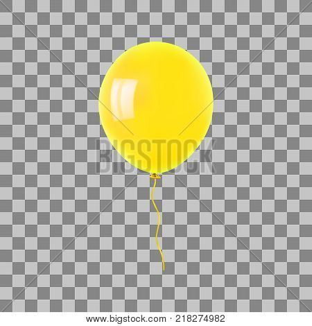 Yellow flying helium balloon. For decoration party, birthday, new year and celebrations. Realistic style isolated on transparent background. 3d. Stock - Vector illustration for your design and business