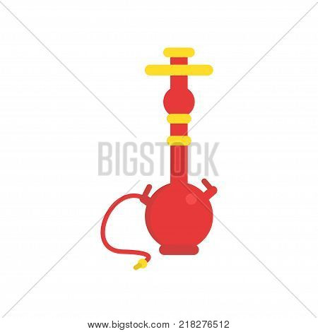 Oriental red shisha with pipe for smoking tobacco. Traditional hookah or hubbly-bubbly. Symbol of Arabic culture. Icon in flat style. Cartoon vector illustration isolated on white background.