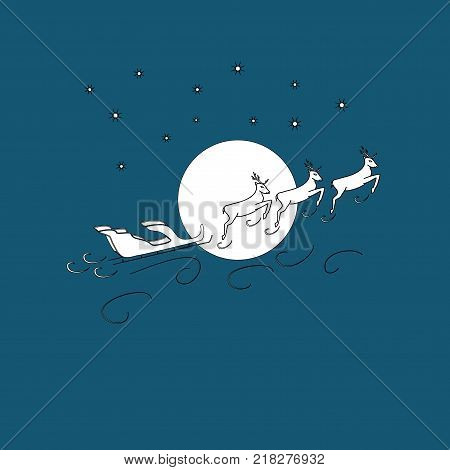 Silhouette christmas sledge claus and deer on blue background merry celebration symbol christmas. Colorful template for prints textiles card label. Isolated graphic element Flat vector illustration
