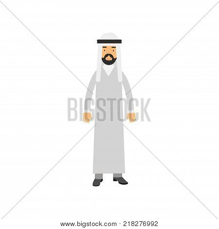 Cartoon Arabian male character in traditional Muslims clothes. Bearded man wearing white dress dishdasha and keffiyeh on head. National costume concept. Isolated vector illustration in flat style.
