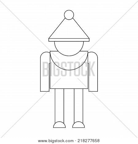 Merry Christmas Elf Character Icon Symbol Design. Vector illustration of elf outline isolated on white background. Simple shape style. Flat design. Can be use for decoration gifts greetings holidays etc.