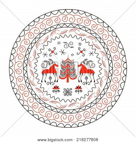 National northen paintings circle frame. Folk handicrafts. Enchanting original ornaments. Simplicity. Red horse, fir, archaic, minimalistic, scribbles. For prints, posters, wallpapers, web decoration poster