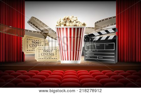 Cinema concept 3d vector illustration with movie hall, rows of red seats, stage, curtain, white screen. Realistic objects of film industry in center box with popcorn, tickets, clapperboard, filmstrip