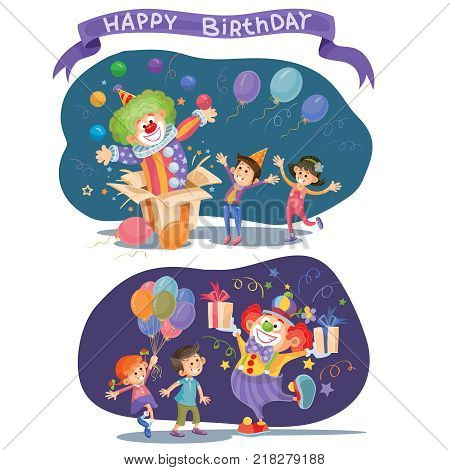 Happy kids celebrating birthday. Funny clown makes a surprise juggles with balls and gives children the gifts. Two colorful backgrounds for card, invitation, poster. Cartoon style vector illustration