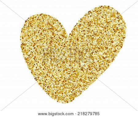 Heart Love Gold. Golden design element, Happy Valentines day card, romantic for design greeting cards, mug, holiday invitations, photo overlays, t-shirt print, flyer, poster design, pillow.