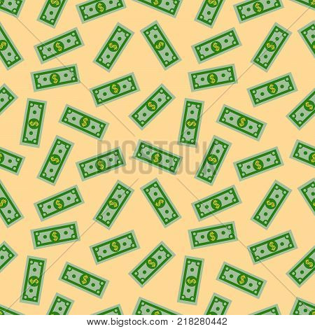 Seamless Pattern with American Money Dollars Bank Notes on yellow background. Dollar bill. Flat design  Illustration