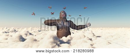 Computer generated 3D illustration with biplanes and giant gorilla attacking each other