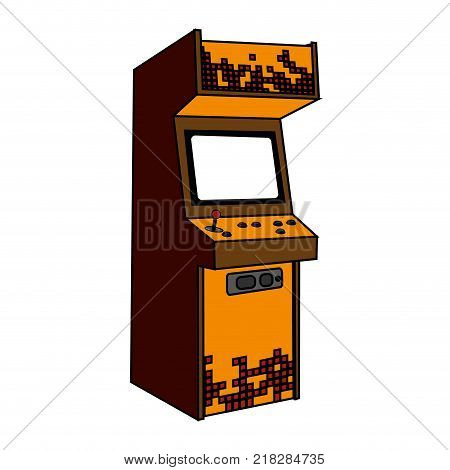 Arcade machine of videogame play retro and technology theme Isolated design Vector illustration