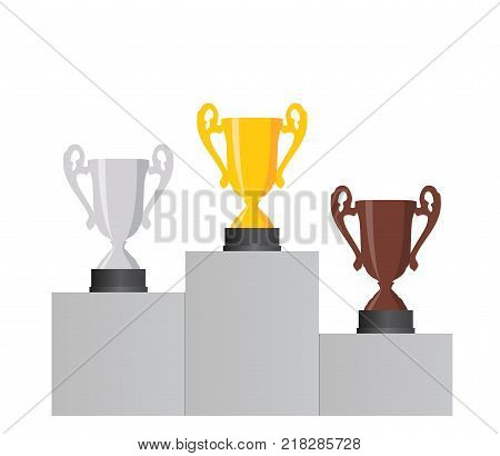 Pedestal with the cup winner of the first Gold , the second Silver and the third Bronze place on white background. Vector Illustration. EPS10