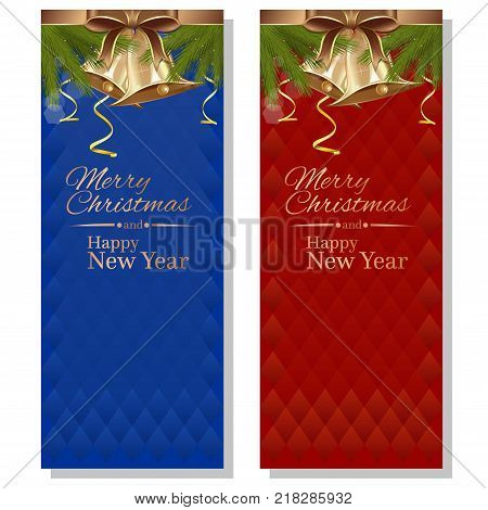 Christmas design. Red and blue christmassy backgrounds with fir branches, ribbons bows, golden bells and greeting inscription. Merry Christmas and Happy New Year. Vector illustration