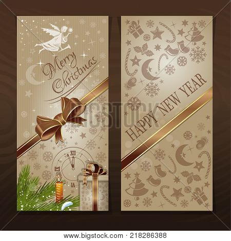 Two-way flyer for Christmas and New Year. Christmas greeting card. Vector illustration