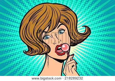 Beautiful woman licking Lollipop. Comic book cartoon pop art retro illustration