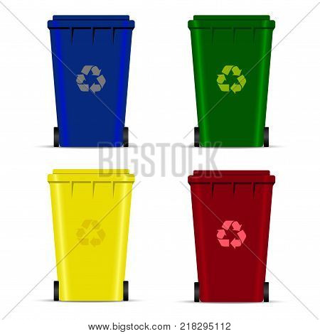 Set of recycle bins for trash or garbage. Vector icons.