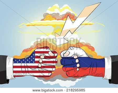 Russia vs USA, Two Fists In Impact, Nuclear explosion bright orange fiery mushroom cloud cap