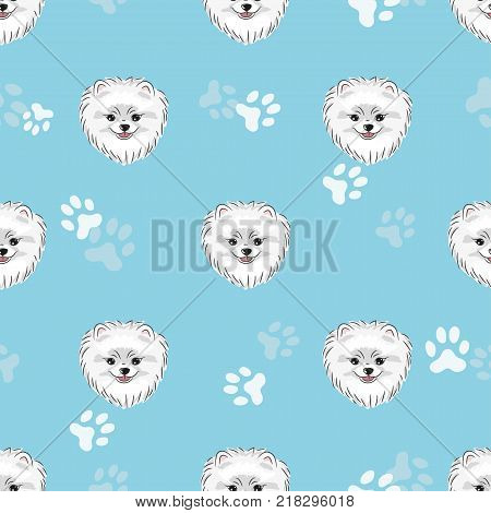 Seamless pattern with cute pomeranian puppy. Vector dogs background.
