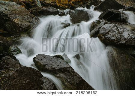 Waterfall in Akkem Valley in Altai Mountains Natural Park