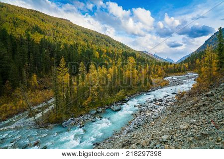 River in Akkem Valley in Altai Mountains Natural Park, surroundings of Belukha Mountain