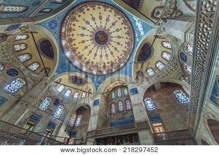 ISTANBUL TURKEY: Interior of Sokollu Mehmet Pasha Mosque is an Ottoman mosque located in Kadirga by architect Sinan on October 2 2017