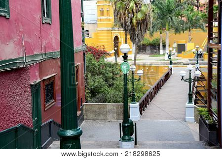 Typical colonial architecture in Barranco in the south of Lima, Peru