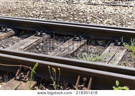railroad railway. rails transportration isolated. rail transport