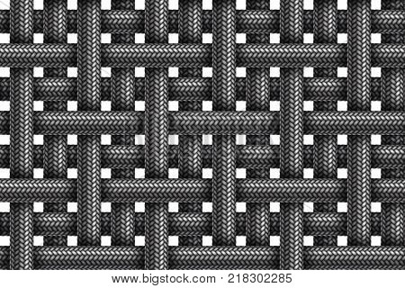 Vector seamless realistic pattern of striped fabric braided cords.