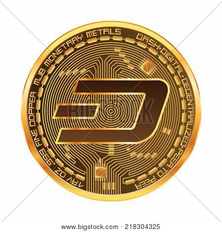 Crypto currency golden coin with golden dash symbol on obverse isolated on white background. Vector illustration. Use for logos, print products, page and web decor or other design.