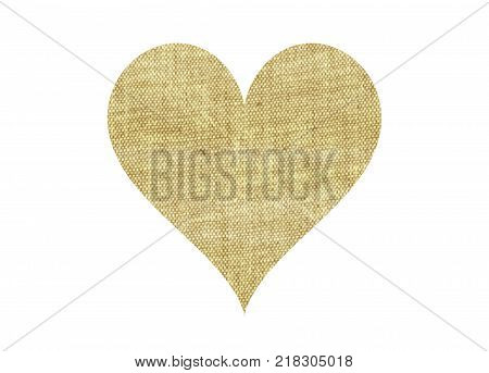 Fabric sackcloth natural canvas heart isolated on white. Jute rural obsolete heart mark.