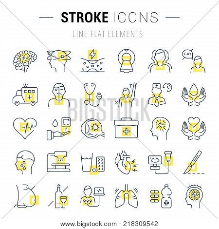 Set vector line icons sign and symbols in flat design stroke with elements for mobile concepts and web apps. Collection modern infographic logo and pictogram.