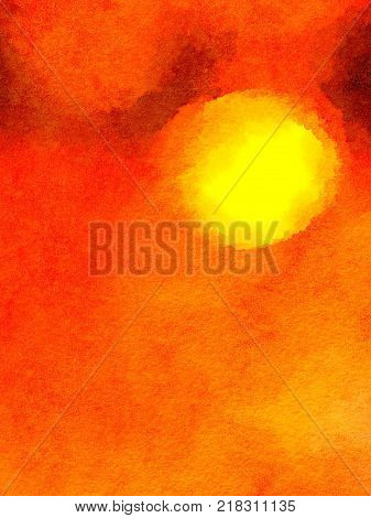 Digital watercolor painting of a red yellow and orange background. Looks like the sun setting in the sky. With space for text.