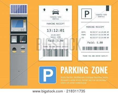Realistic modern terminal for paying for car parking and parking receipt. Vector illustration.