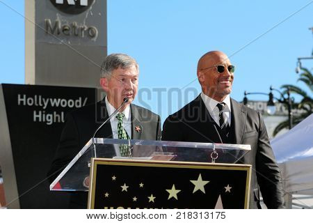 LOS ANGELES - DEC 13:  Leron Gubler, Dwayne Johnson at the Dwayne Johnson Star Ceremony on the Hollywood Walk of Fame on December 13, 2017 in Los Angeles, CA