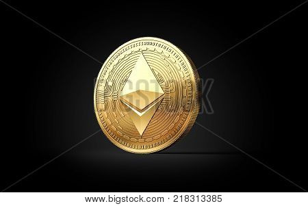 Golden Ether ETH cryptocurrency coin isolated on black background. 3D rendering