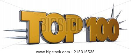 top 100 symbol with prickles on white background - 3d rendering