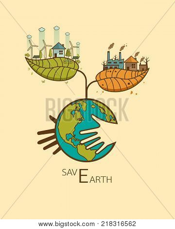 Save Earth concept in heart with hand hug conceptThe different of Environmentally landscape factory and forest green earth- ecology concept green information Vector illustration