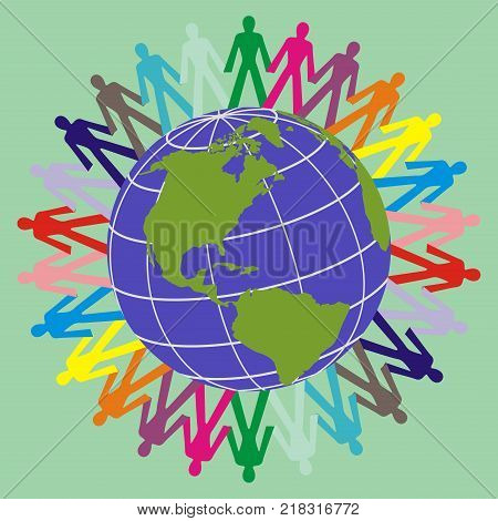 the symbol of colorful manusa hand in hand around the globe as a sign of world peace love