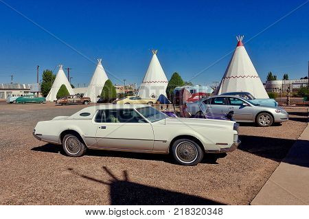 Holbrook, USA, 2017.10.22: The Wigwam Motel in Holbrook in the USA.