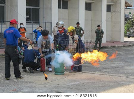BANGKOK, THAILAND - OCTOBER 31, 2017 : People preparedness for fire drill and training