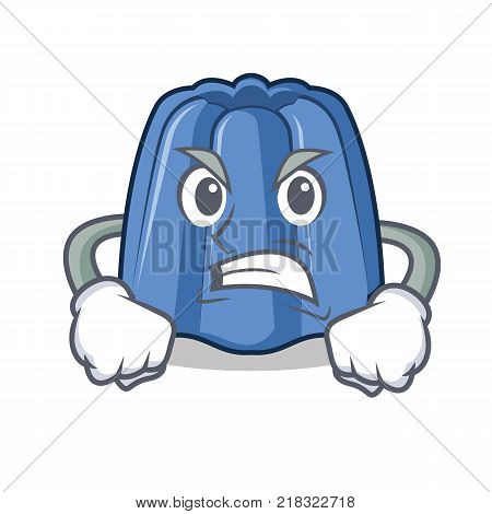 Angry jelly character cartoon style vector illustration