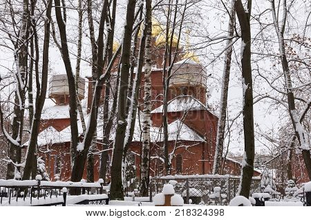 The Orthodox Old Believer Church of the Assumption of the Mother of God at Red (Bugrovsky) Cemetery in Nizhny Novgorod. Russia. The church was built in 1914-1916 by the architect V. Pokrovsky.